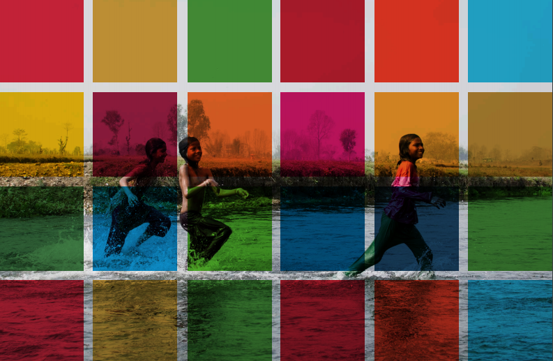 Report cover image showing kids playing in water behind a colourful tile overlay.