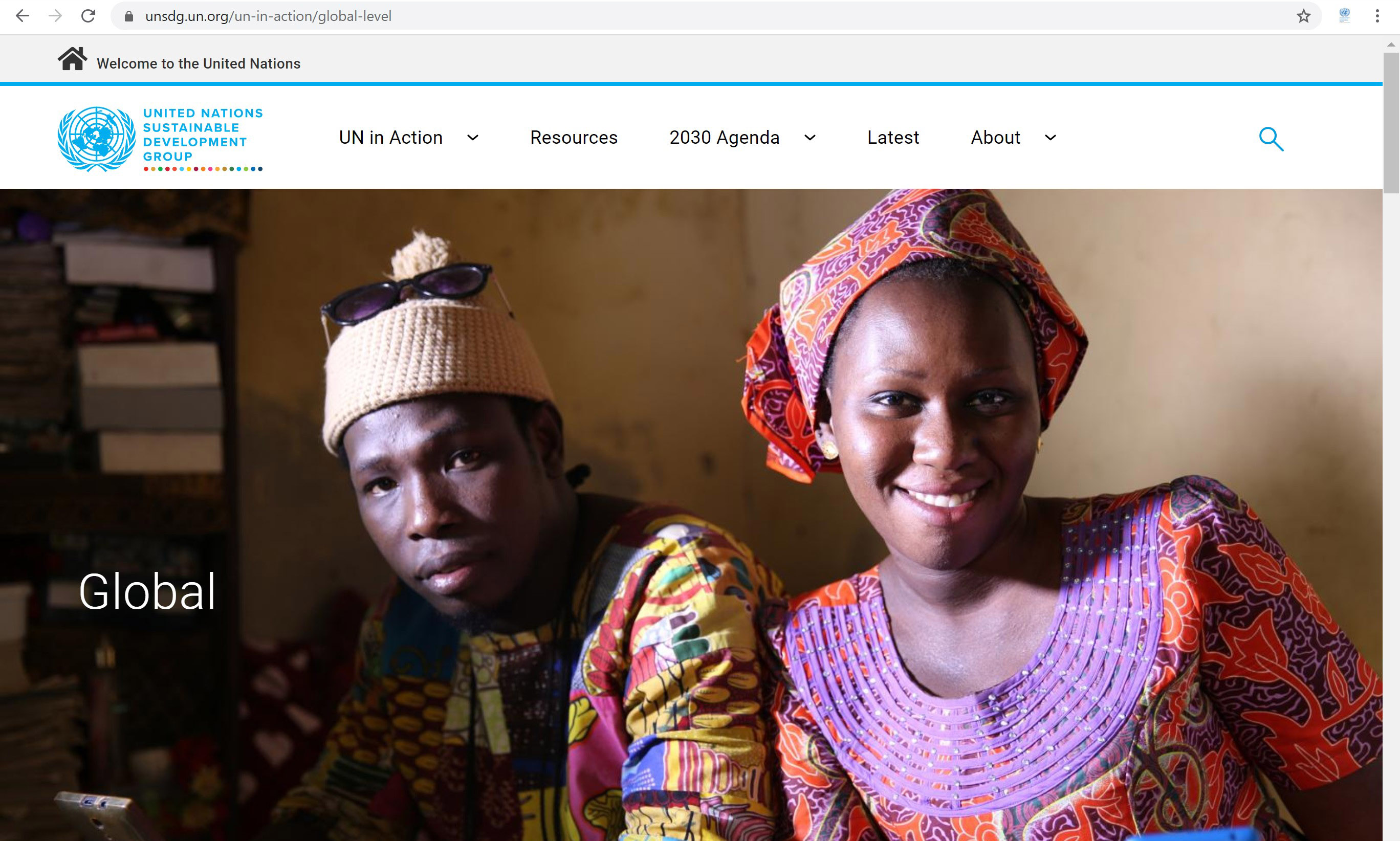 Screenshot of the UN in Action page on the UNSDG global website