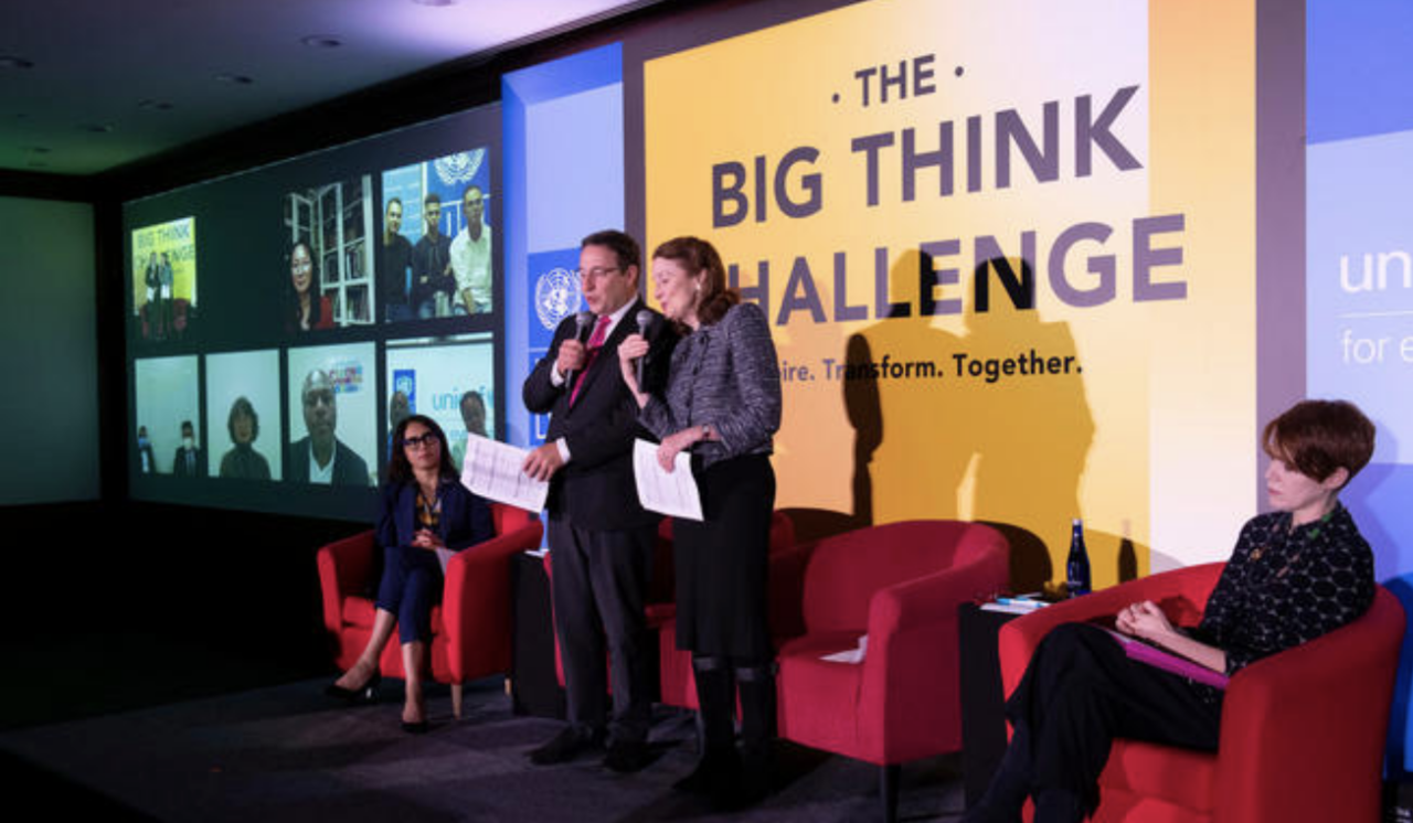 UNICEF Executive Director Henrietta H. Fore and UNDP Administrator Achim Steiner co-host The Big Think Challenge in New York in February 2020. The competition rewards ground-breaking innovations in support of the Global Goals for Sustainable Development.