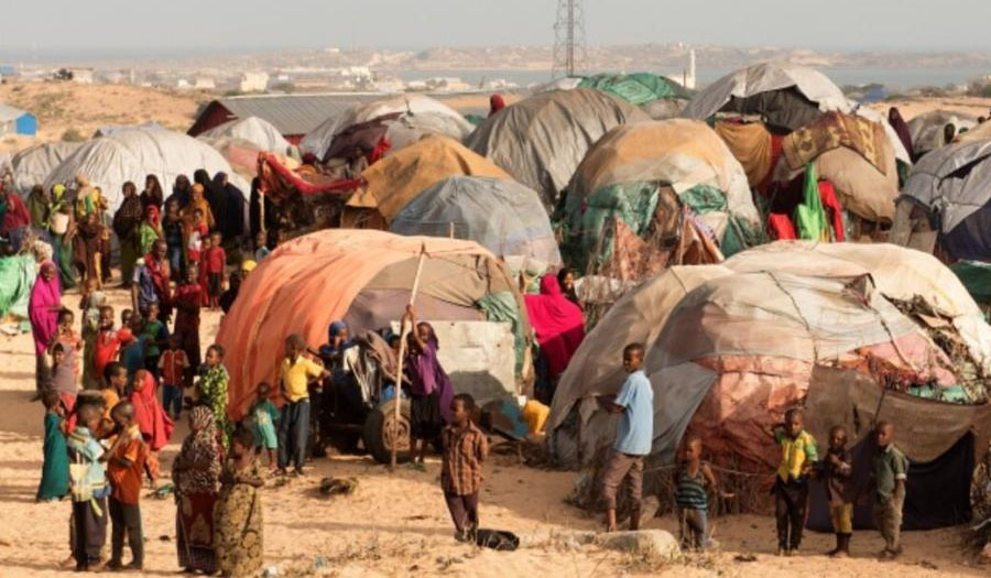 Wide angle view of the Internally Displaced People camp in Kismayo, Somalia.