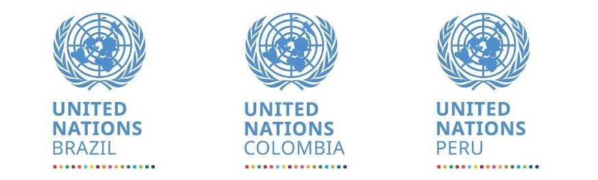 The official UNSDG logos for UNCT teams: Brazil, Colombia and Peru.