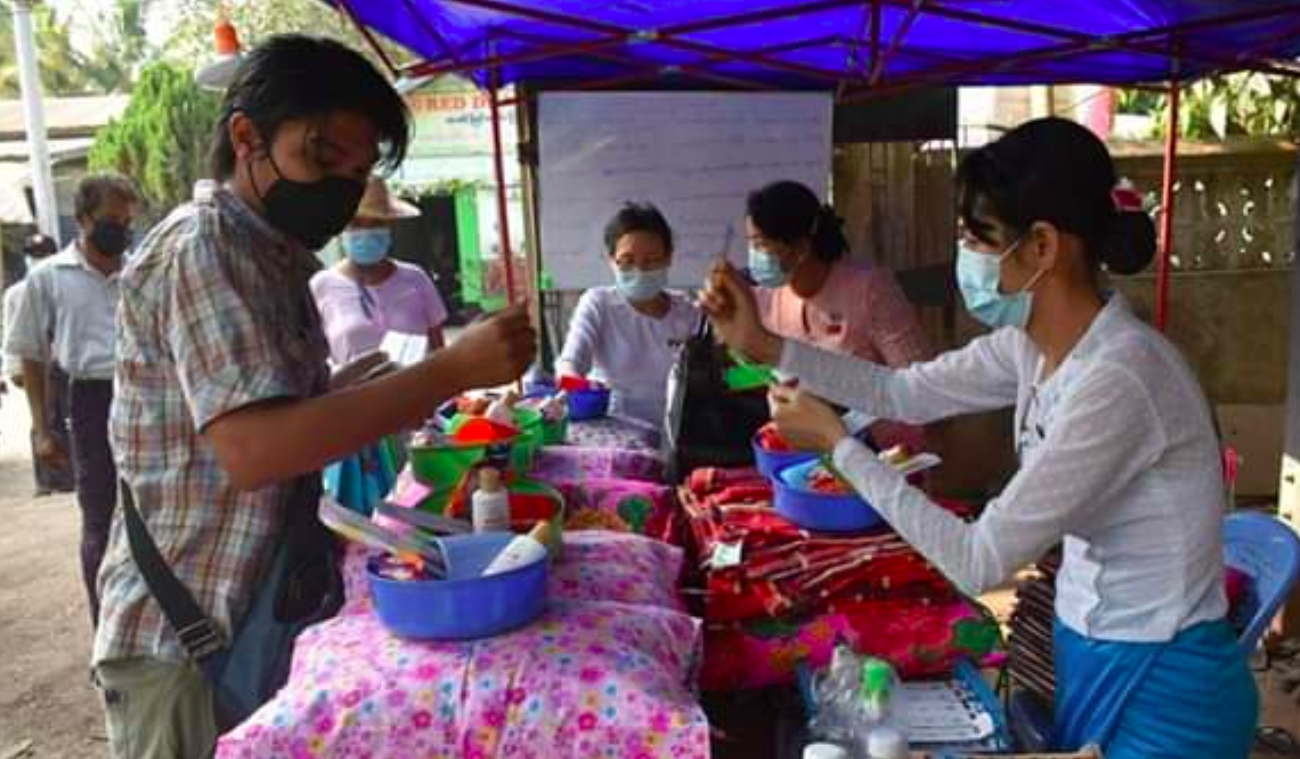 A scene at the quarantine centre in Pyay, where Min Min, a trans man, volunteered.