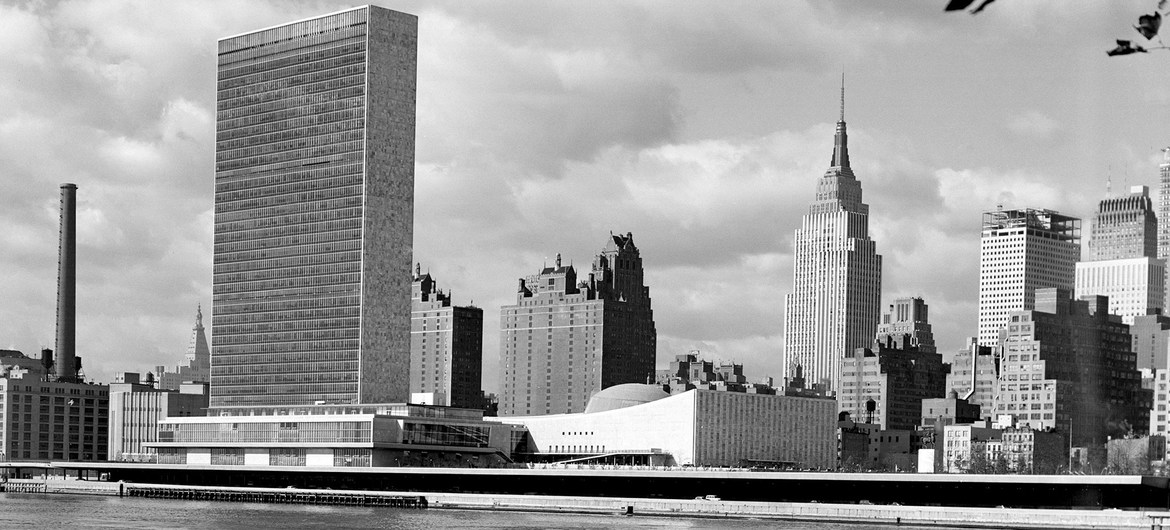 The Headquarters of the United Nations and New York's mid-Manhattan skyline, 24 October 1955.