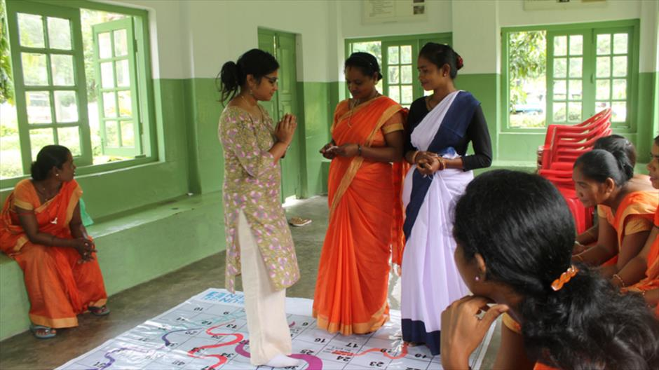 "Members of a ""Jugnu"" club get trained by UN Women on supporting women who experience gender-based violence."