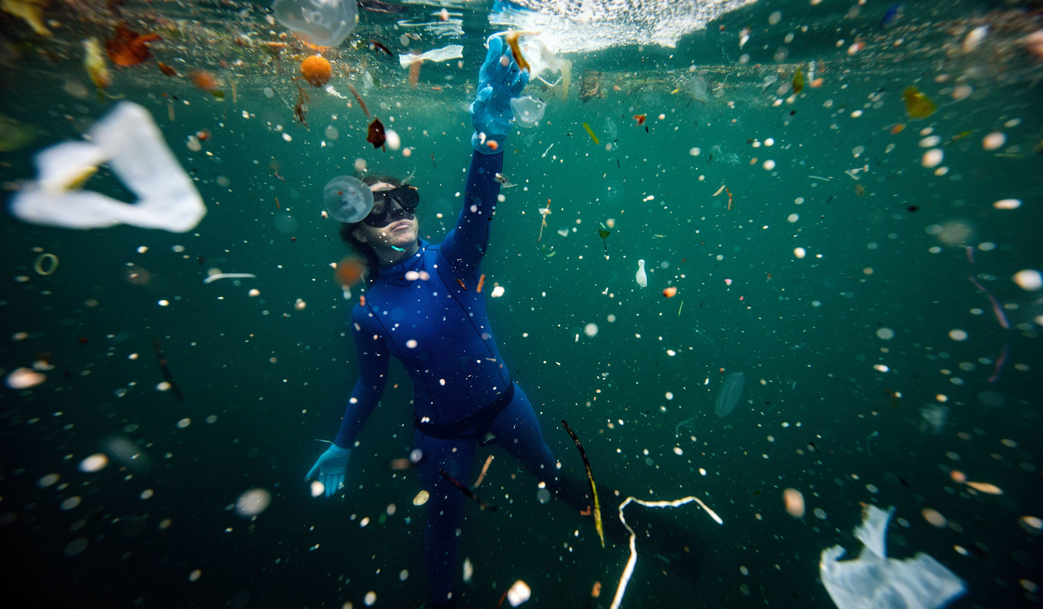World-record holder free-diver Şahika Ercümen took a dive to raise awareness of plastic pollution in the Bosphorous Strait in Istanbul, Turkey. Waterways are beginning to drown in plastic waste, a problem only made worse by the COVID-19 pandemic.