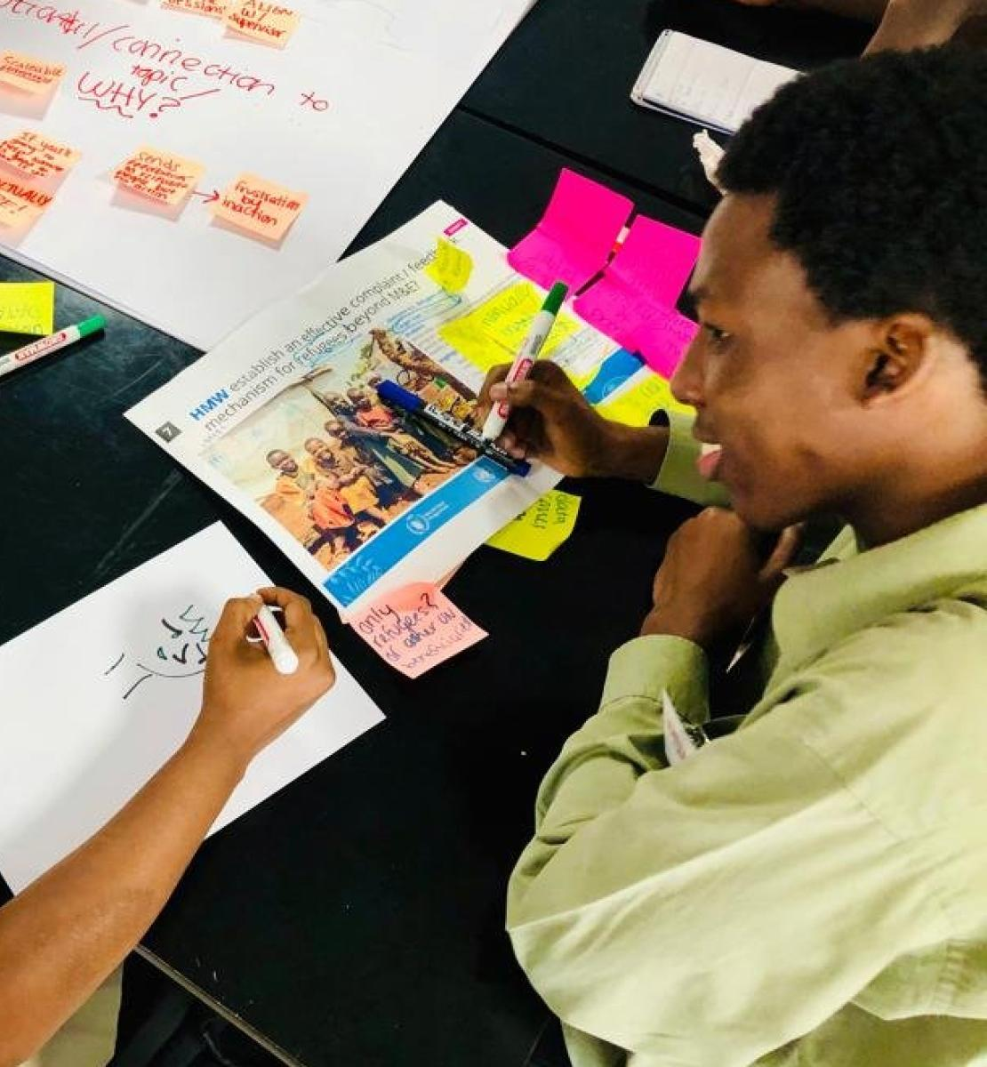 The Banner shows two young men excitingly sitting at a desk covered with post notes, water, poster board. The two are brainstorming and sketching ideas as they smile to each other.