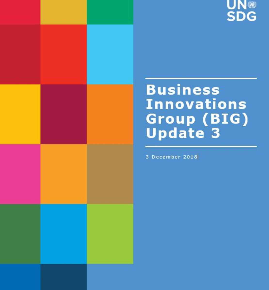 Cover shows BIG Update 3 title against a solid background by a grid of colourful rectangle grid.