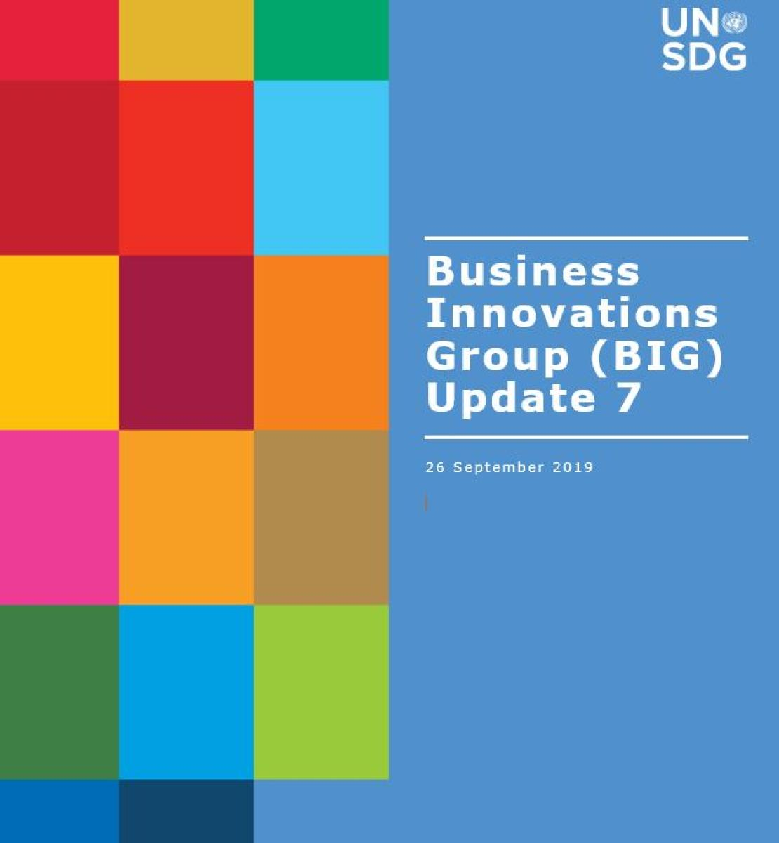 Cover shows BIG Update 7 title against a solid background by a grid of colourful rectangle grid.