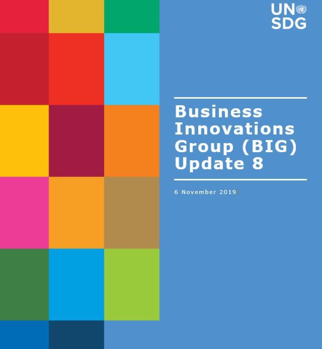 Cover shows BIG Update 8 title against a solid background by a grid of colourful rectangle grid.
