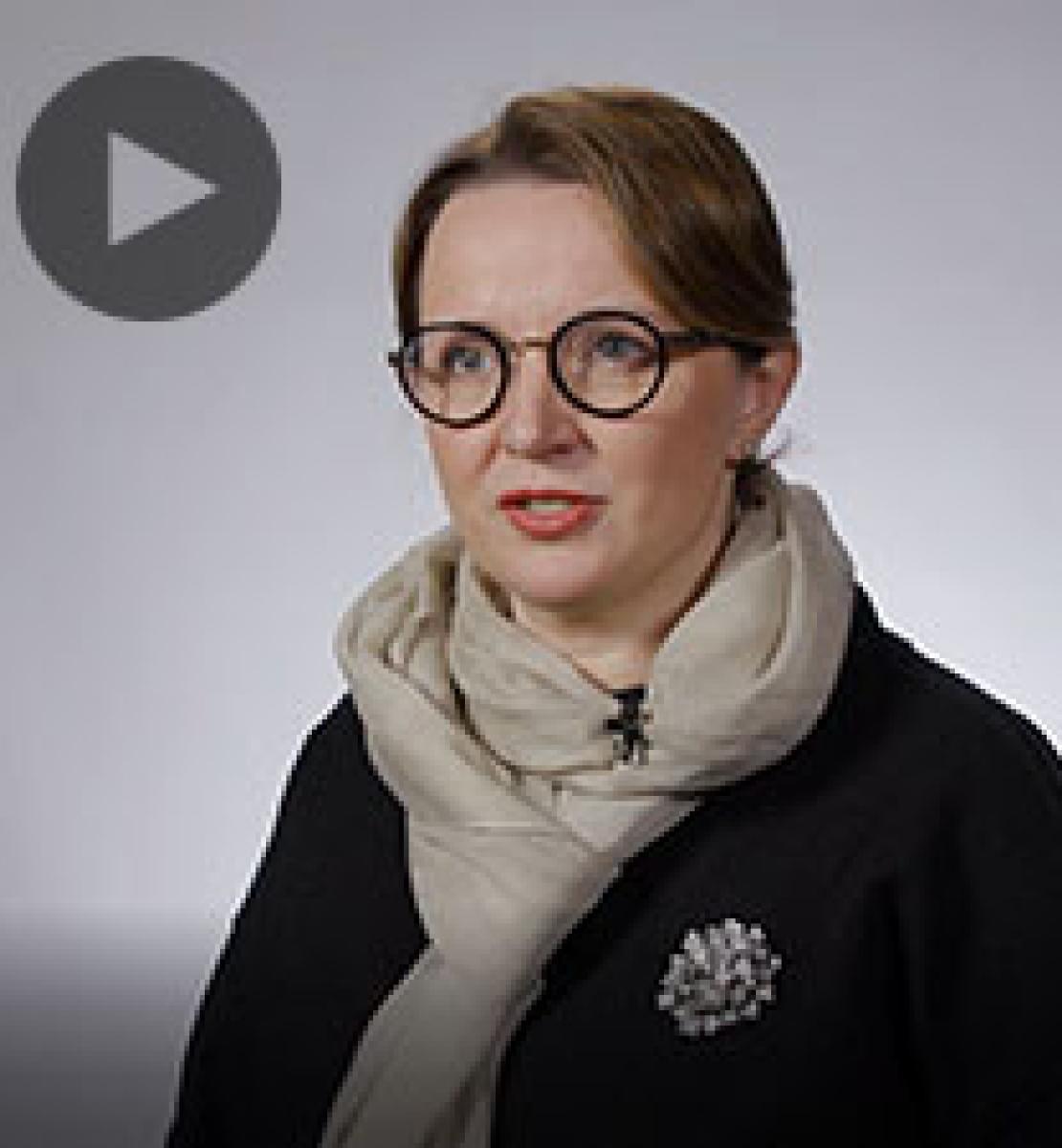 Screenshot from video message shows Resident Coordinator, Joanna Kazana-Wisniowiecki