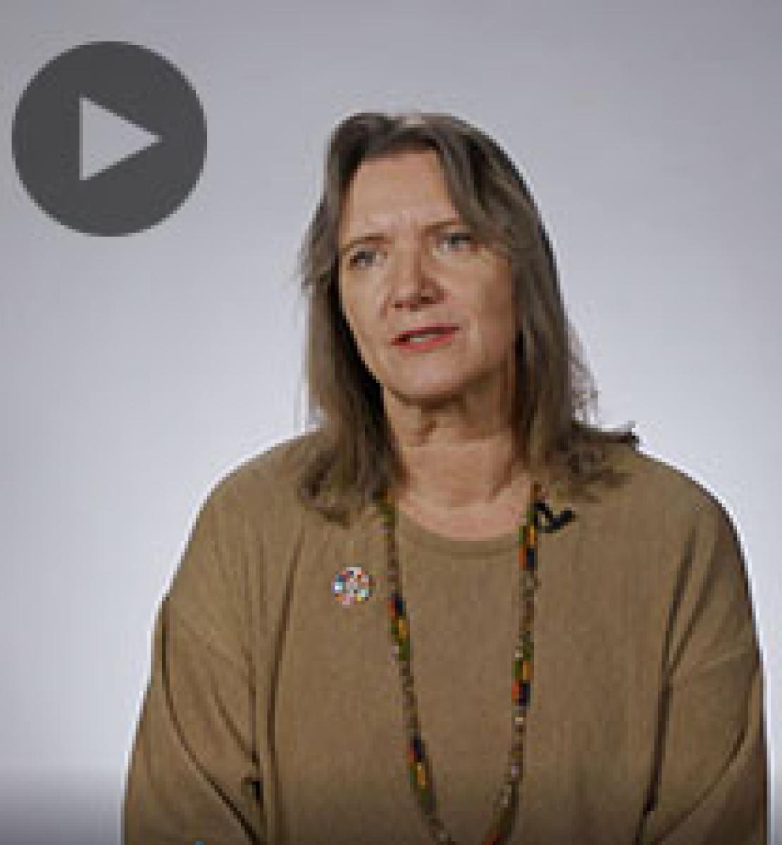 Screenshot from video message shows Resident Coordinator, Birgit Gerstenberg