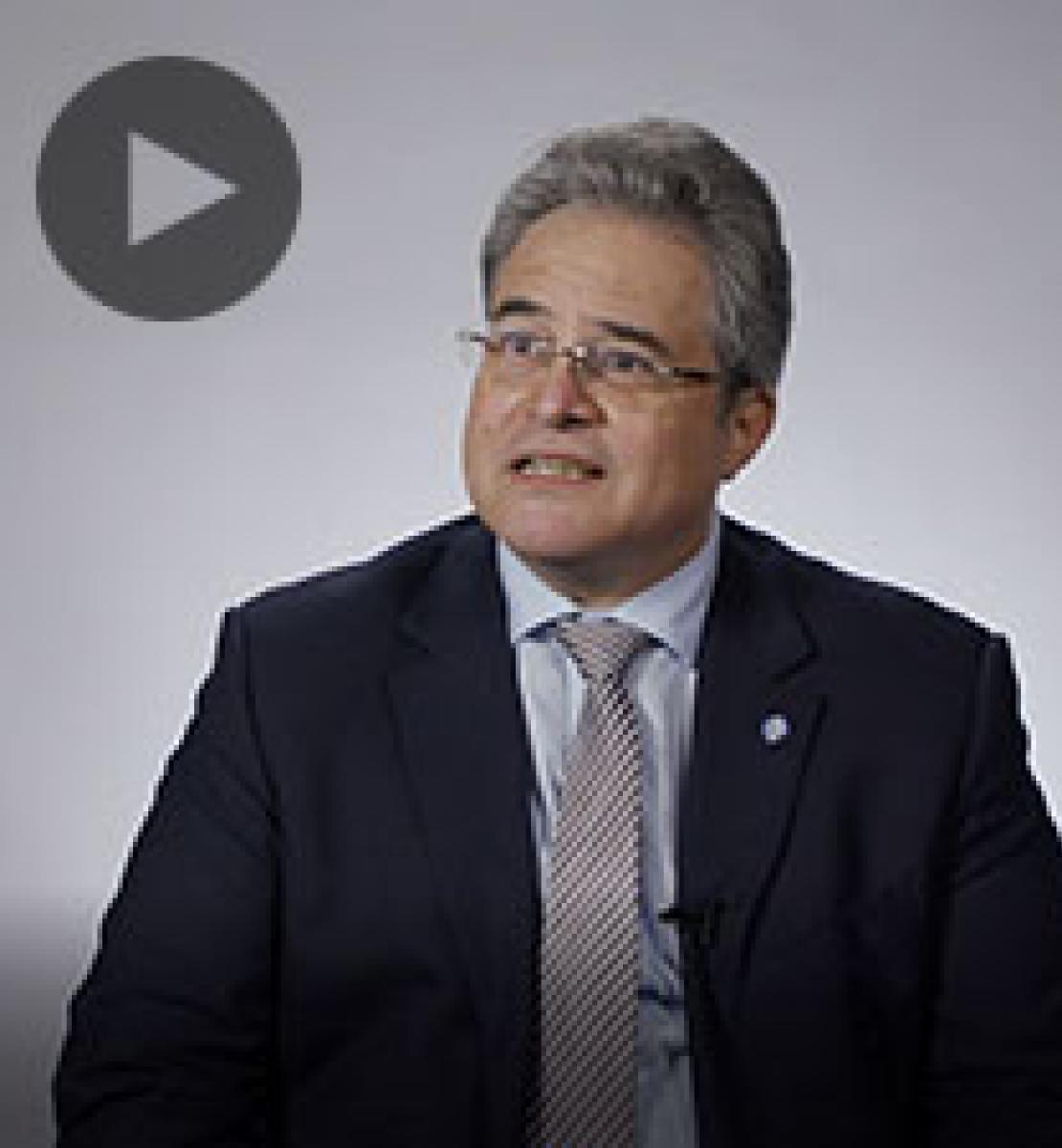 Screenshot from video message shows Resident Coordinator, Tarek Elsheikh