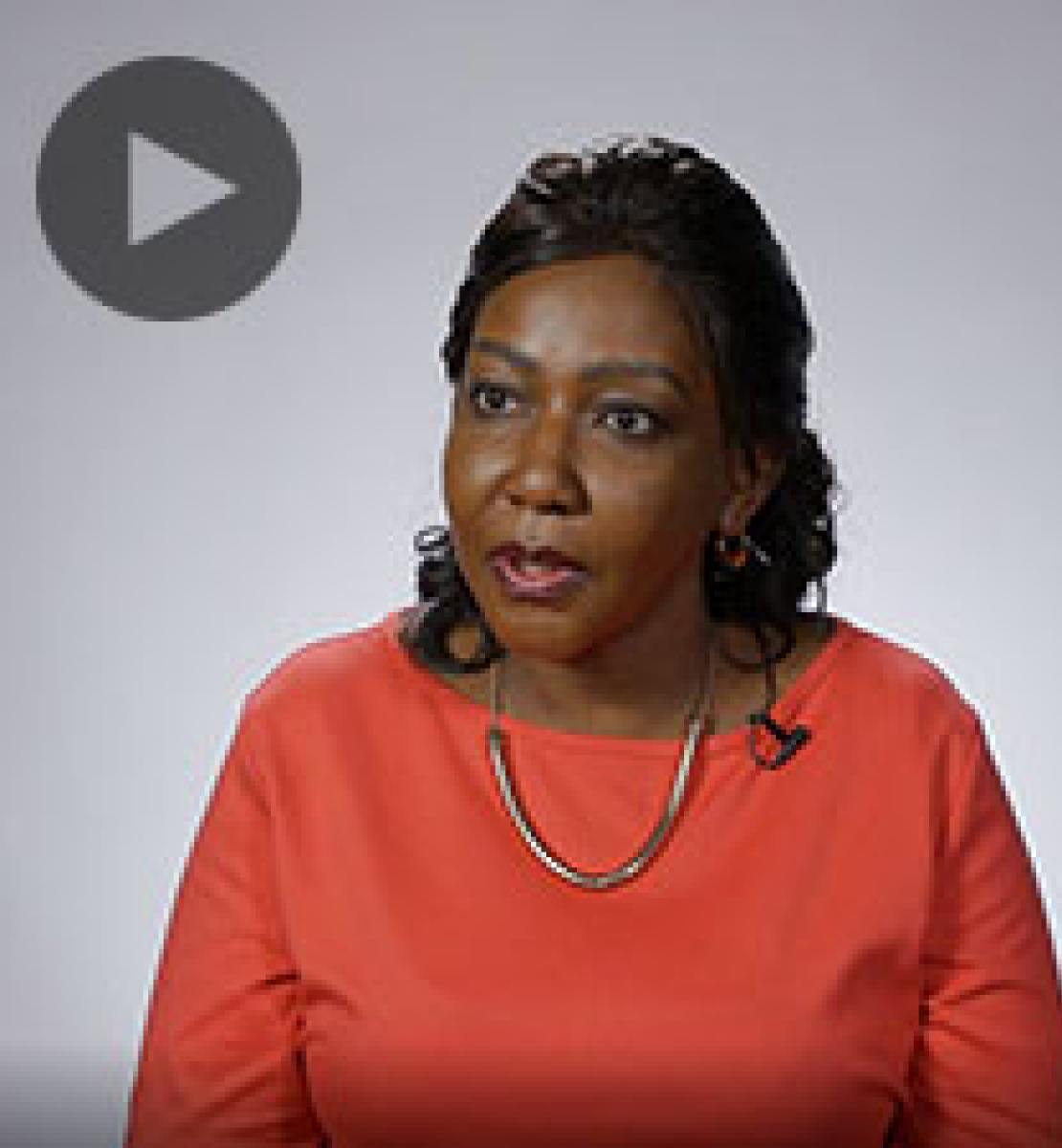 Screenshot from video message shows Resident Coordinator, Violet Kakyomya