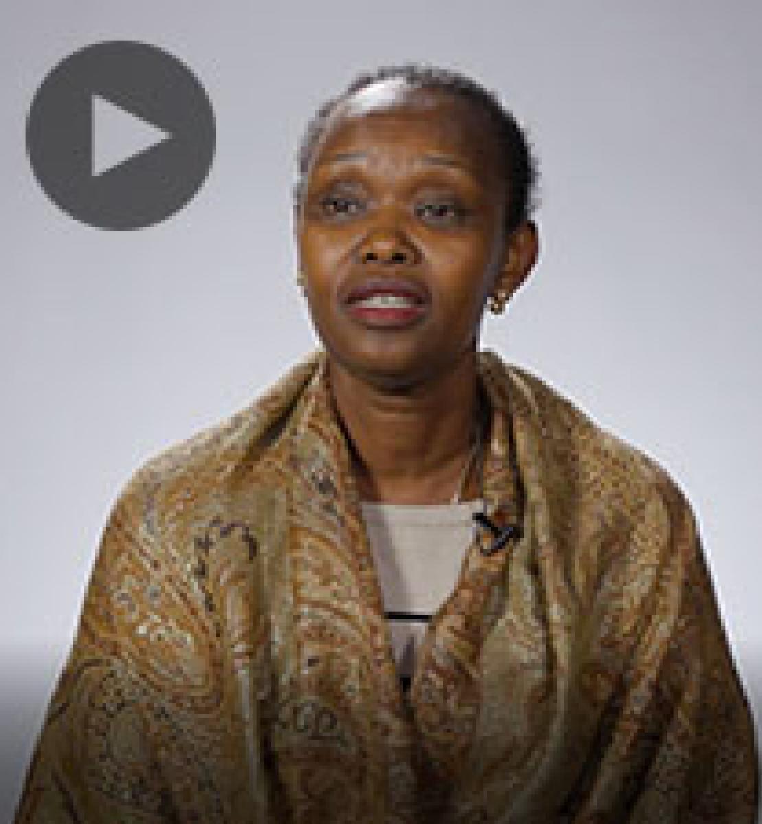 Screenshot from video message shows Resident Coordinator, Christine Umutoni