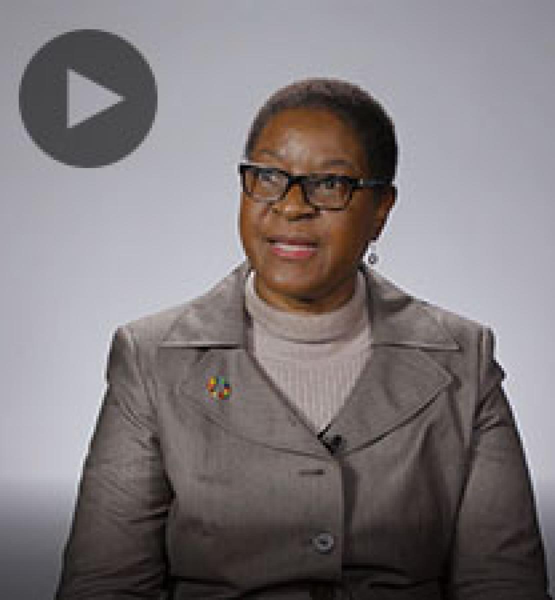 Screenshot from video message shows Resident Coordinator, Rachel Odede