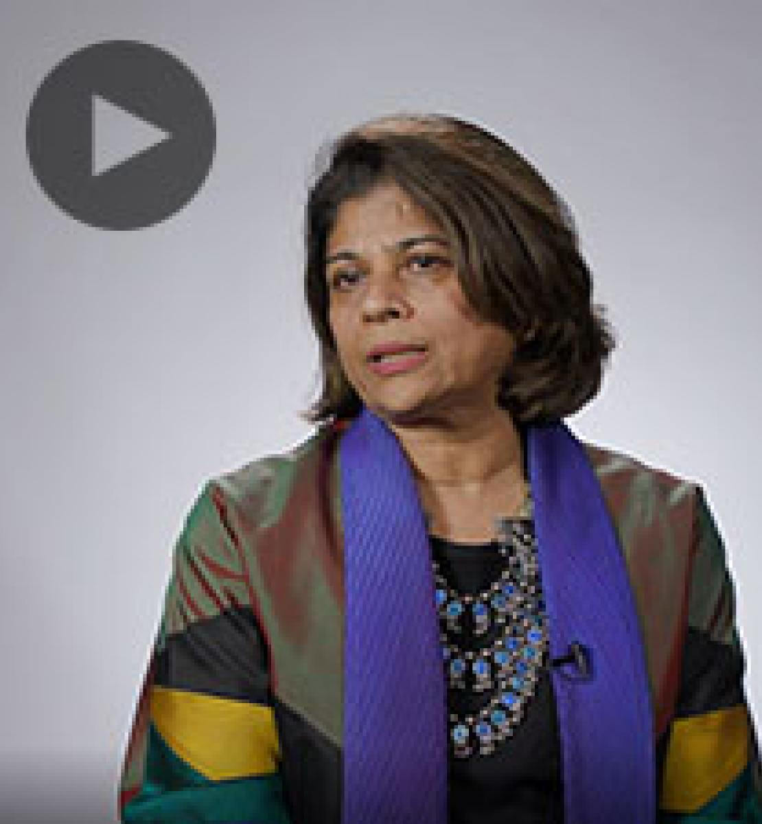Screenshot from video message shows Resident Coordinator, Pratibha Mehta