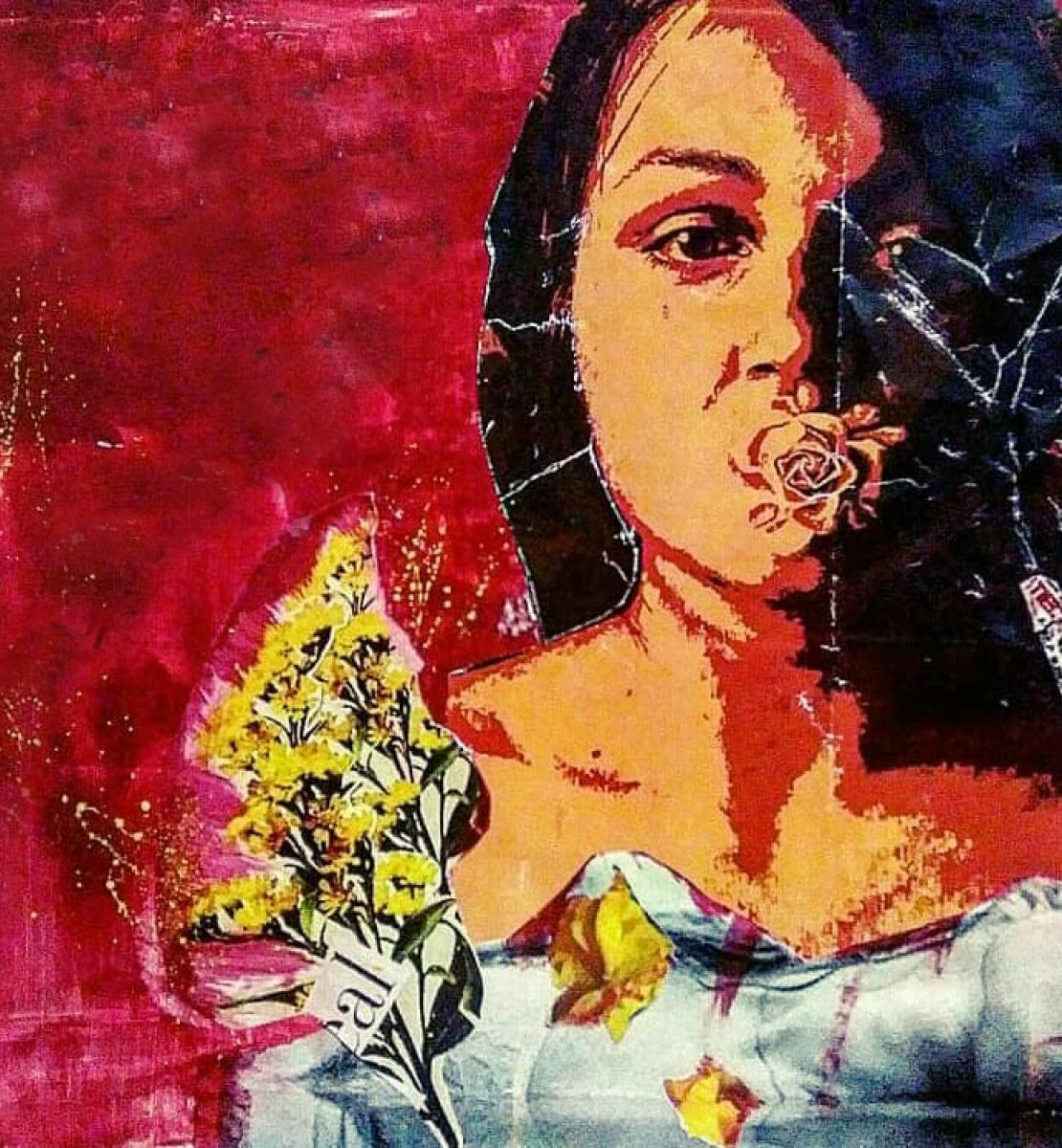 Artwork shows a collage of a girls face, a hand painted with the words stop and an image of a woman laying across the canvas.