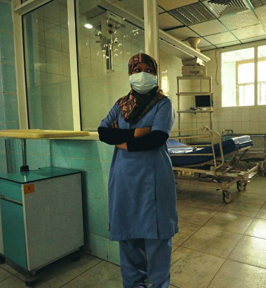 A nurse in Al Kuwait Hospital in Sana'a, Yemen.