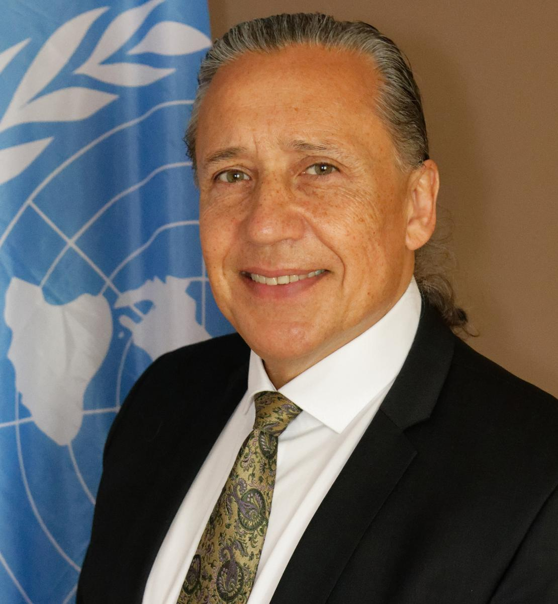 Official photo shows Gustavo González in front of the UN flag.