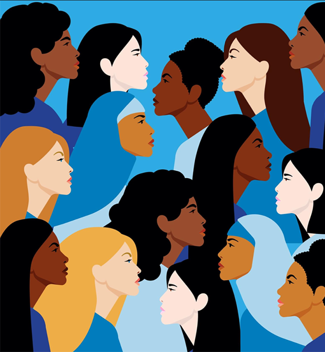 Graphic shows animated women of all races and background facing each other against a solid blue background.