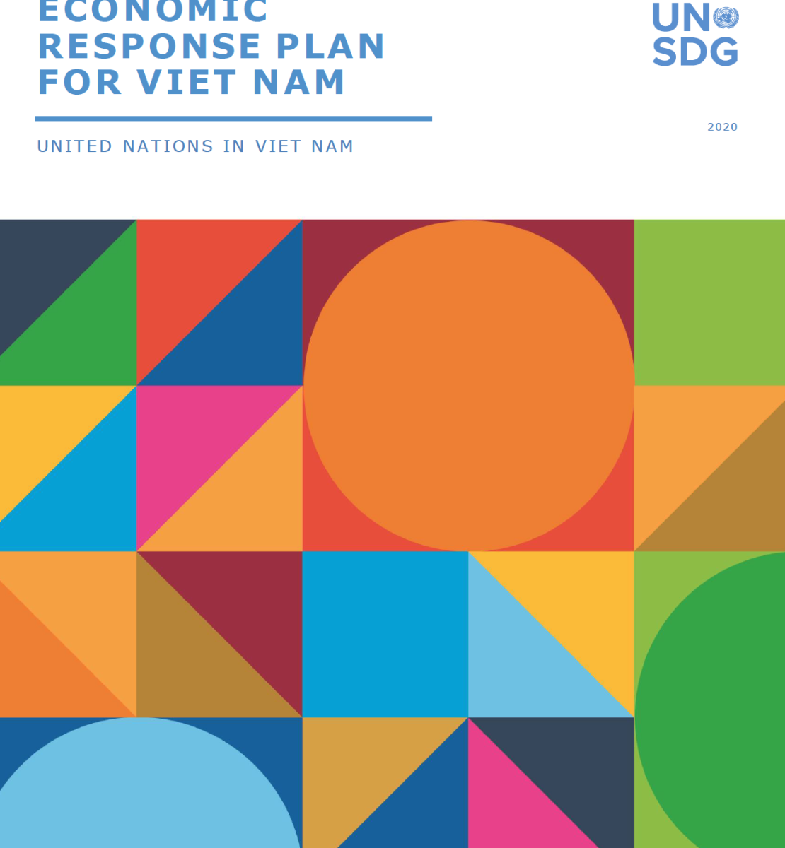 """Cover shows the title """"COVID-19 Socio-Economic Response Plan for Viet Nam"""", over colorful triangles and dots"""