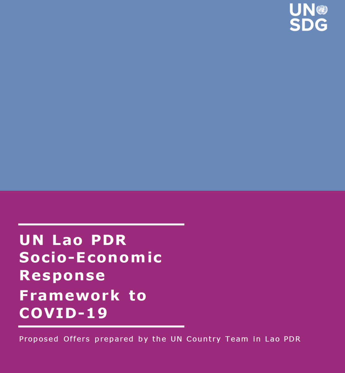 """Cover shows the title """"UN Lao PDR Socio-Economic Response Framework to COVID-19,  over blue and purple background."""
