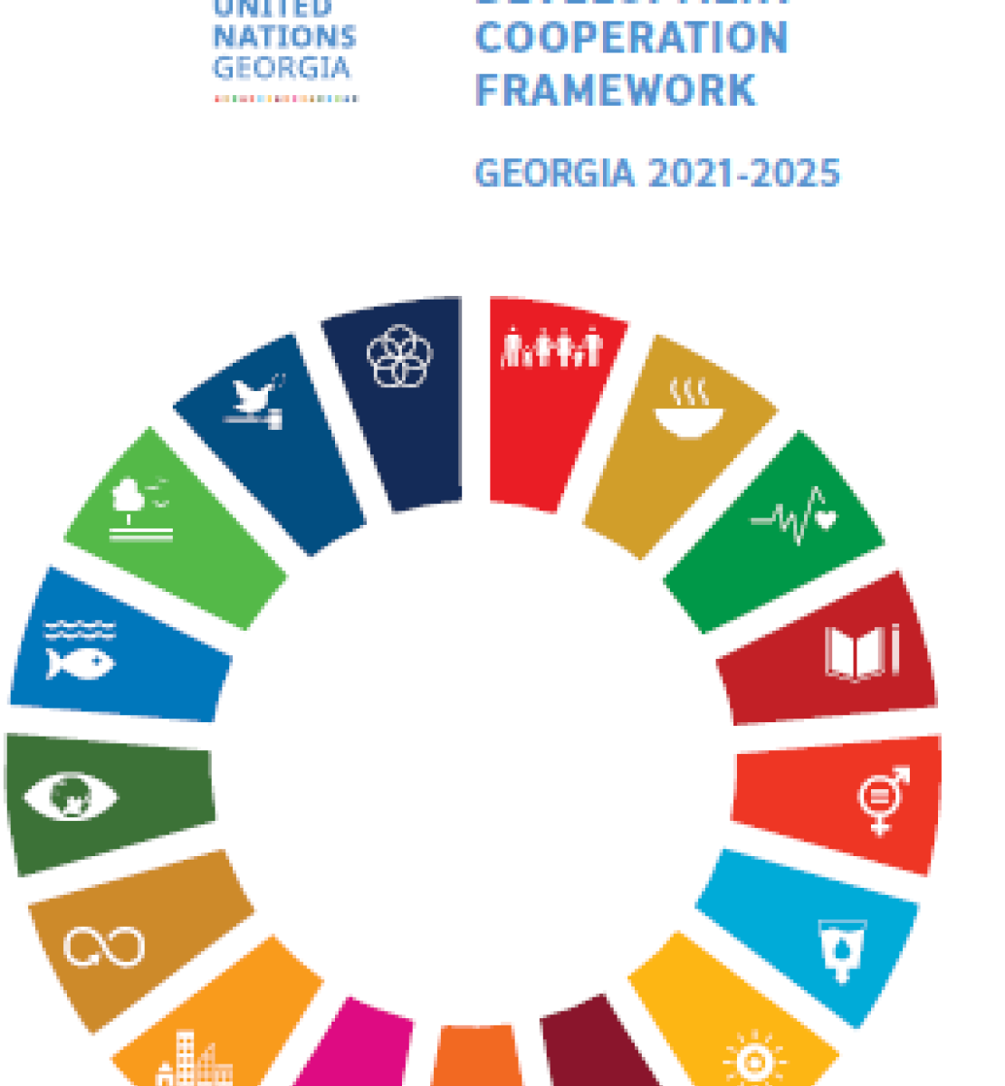 White background with the Goverment Logo and UN logo to the top right of the page.  The SDG wheel is also include as a large graphic on the middle of the page.