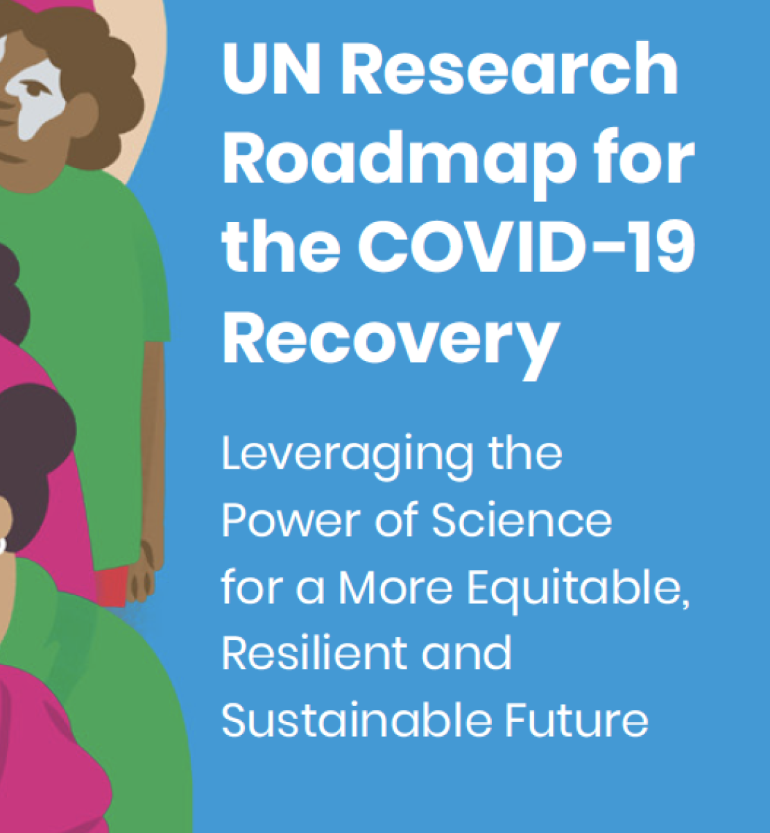 Shows a group of diverse animated people to the left with the UN Roadmap title over blue to the right of the images.
