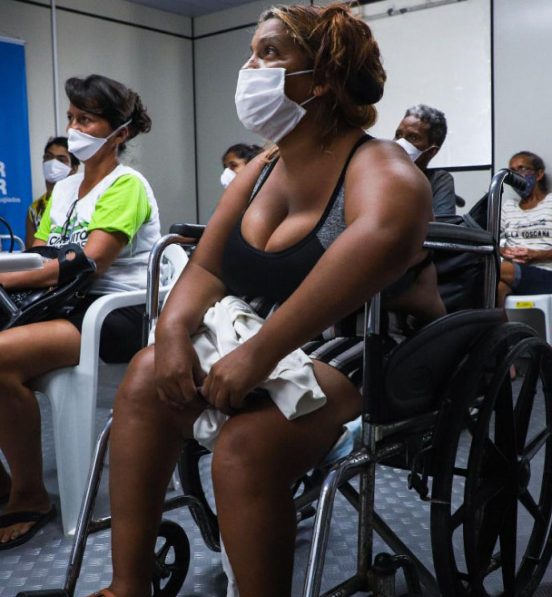 "Disabled Venezuelan women refugees and migrants take a job training course with the ""Empowering Women Refugees"" project in northern Brazil."