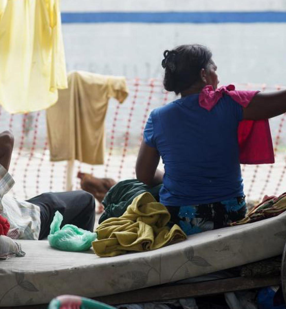 Rescue boat with two survivors of the storms that hit Honduras.