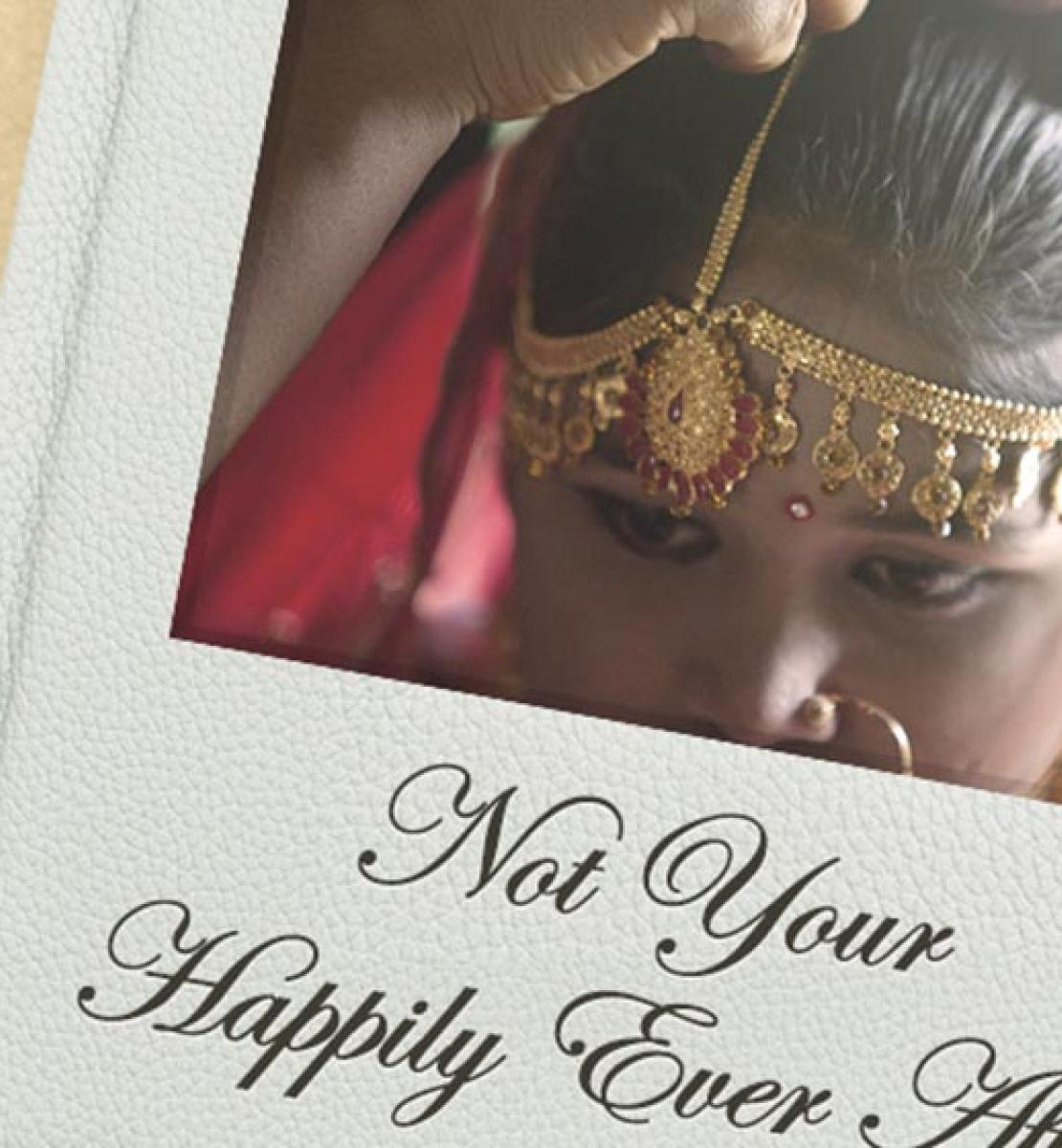 "The image shows a young girl dressed in a traditional Bangladesh cultural headdress as the cover of a wedding album, with the text ""Not Happily Ever After"" inscribed just beneath the image."
