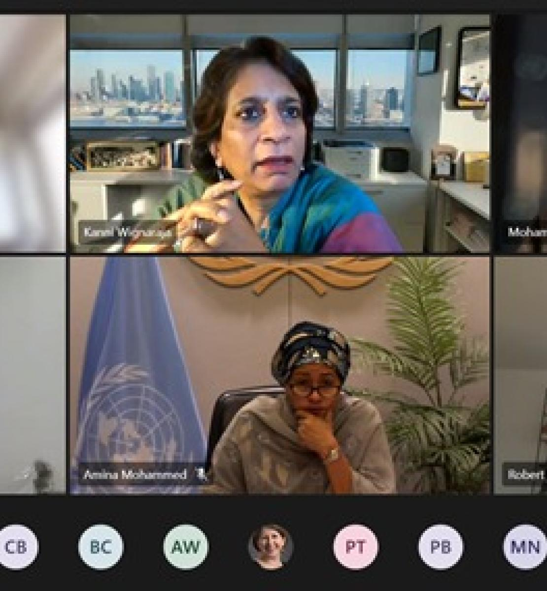 Screenshot showing meeting participants with United Nations Deputy Secretary-General Amina Mohammed