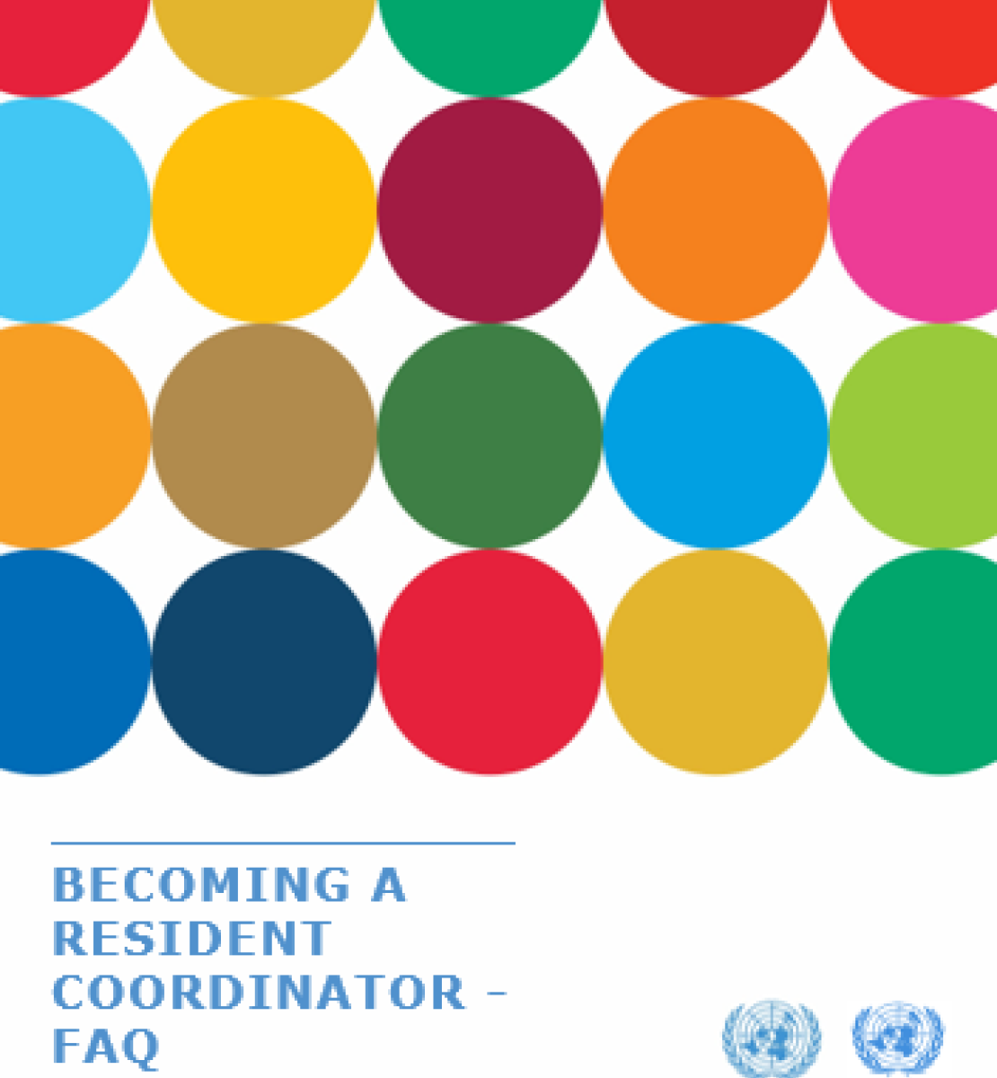 this shows the covers for the FAQ which are colorful dots with the logos of UNDCO and OCHA at the bottom, alongside the title of the document