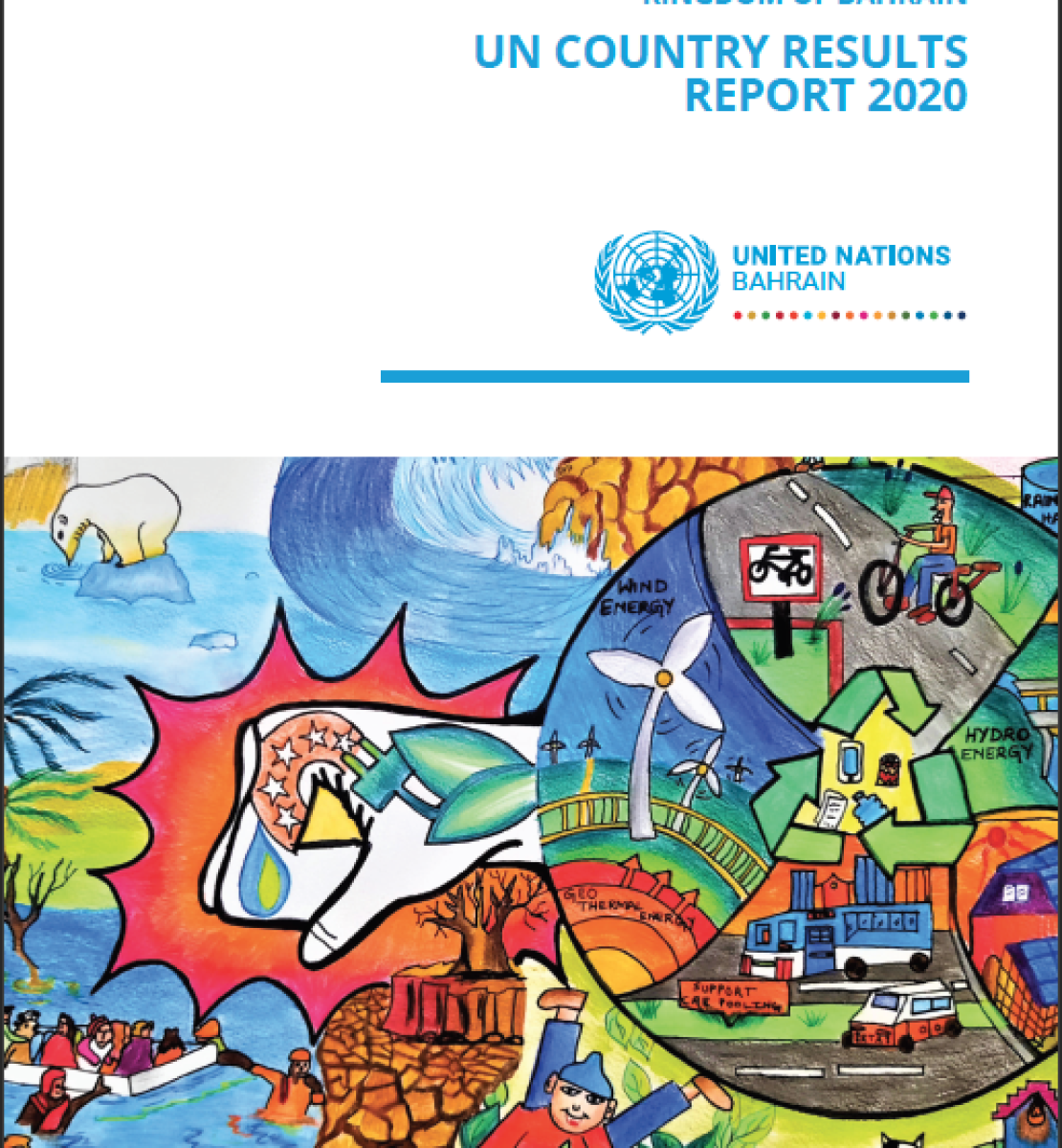 The cover shows the top half with the title and UNCT logo above a colouful animated drawing showing people living their daily life.