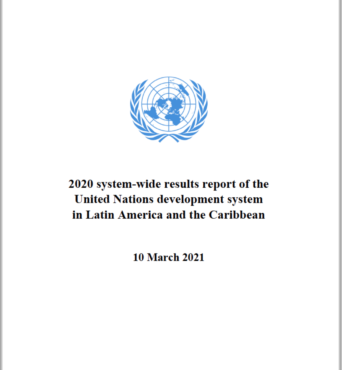 Page de couverture d'un rapport sur fond blanc montrant le titre « Rapport 2020 sur les résultats obtenus à l'échelle du système par le système des Nations Unies pour le développement en Amérique latine et dans les Caraïbes » en anglais et le logo de l'ONU placé au-dessus du titre.