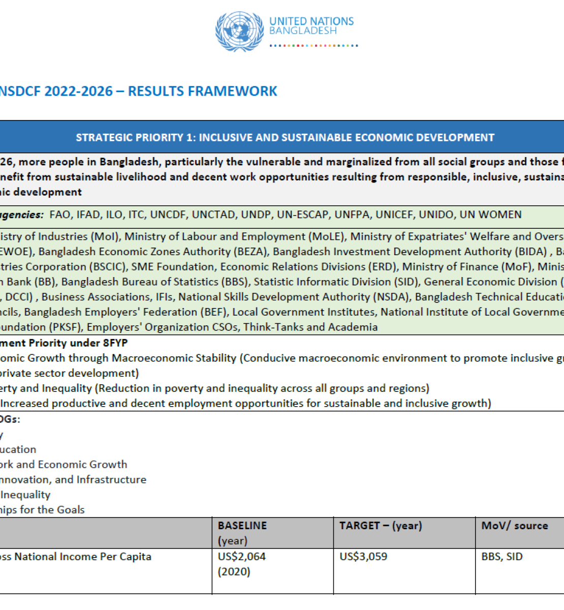 This is a document with a white background.  Its has the UNCT Logo to the top of the page.  It also contains a table.