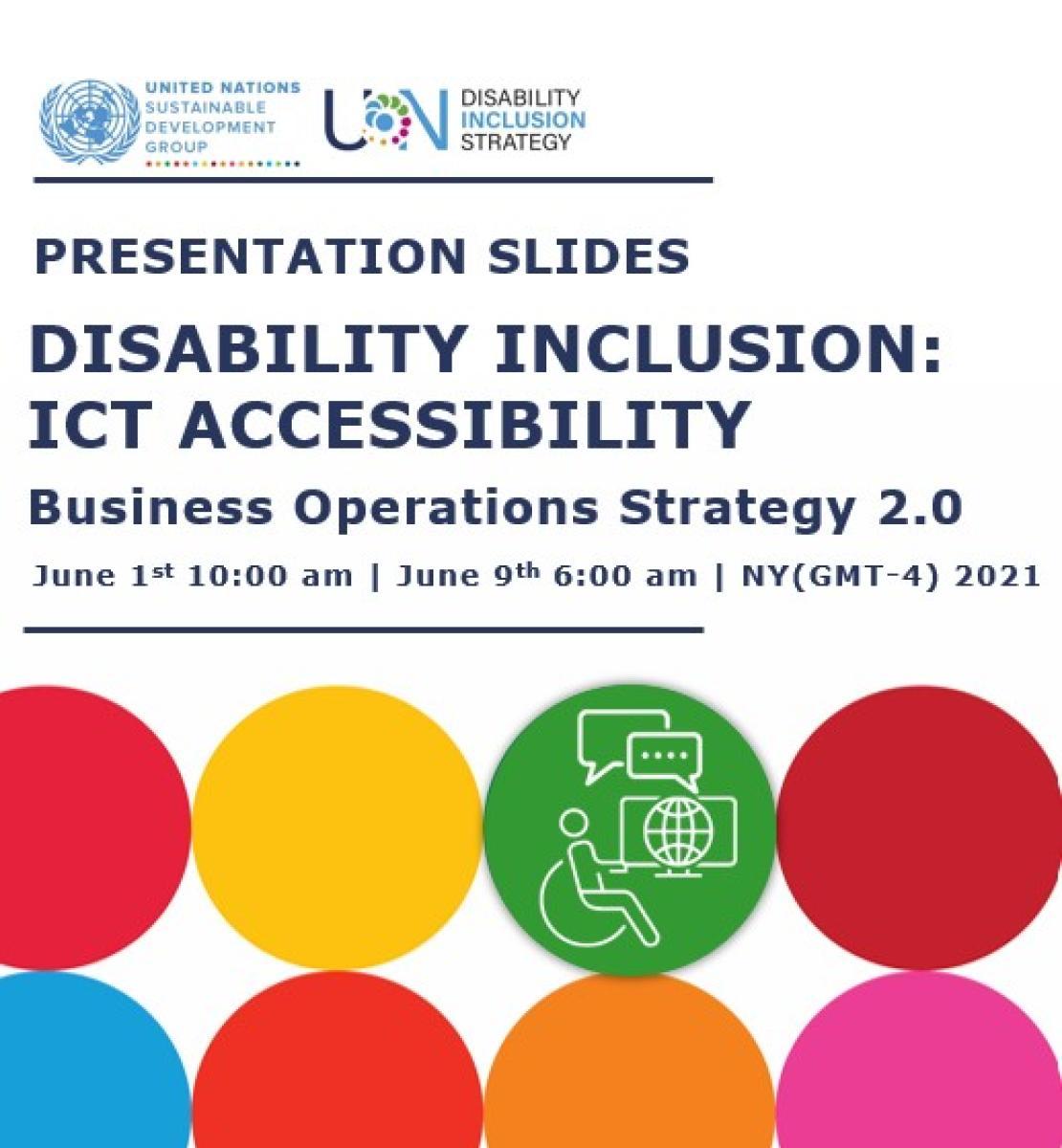 简报文件封面上有可持续发展目标圆圈,以及一个使用轮椅、通过电脑在线聊天的人的图标。