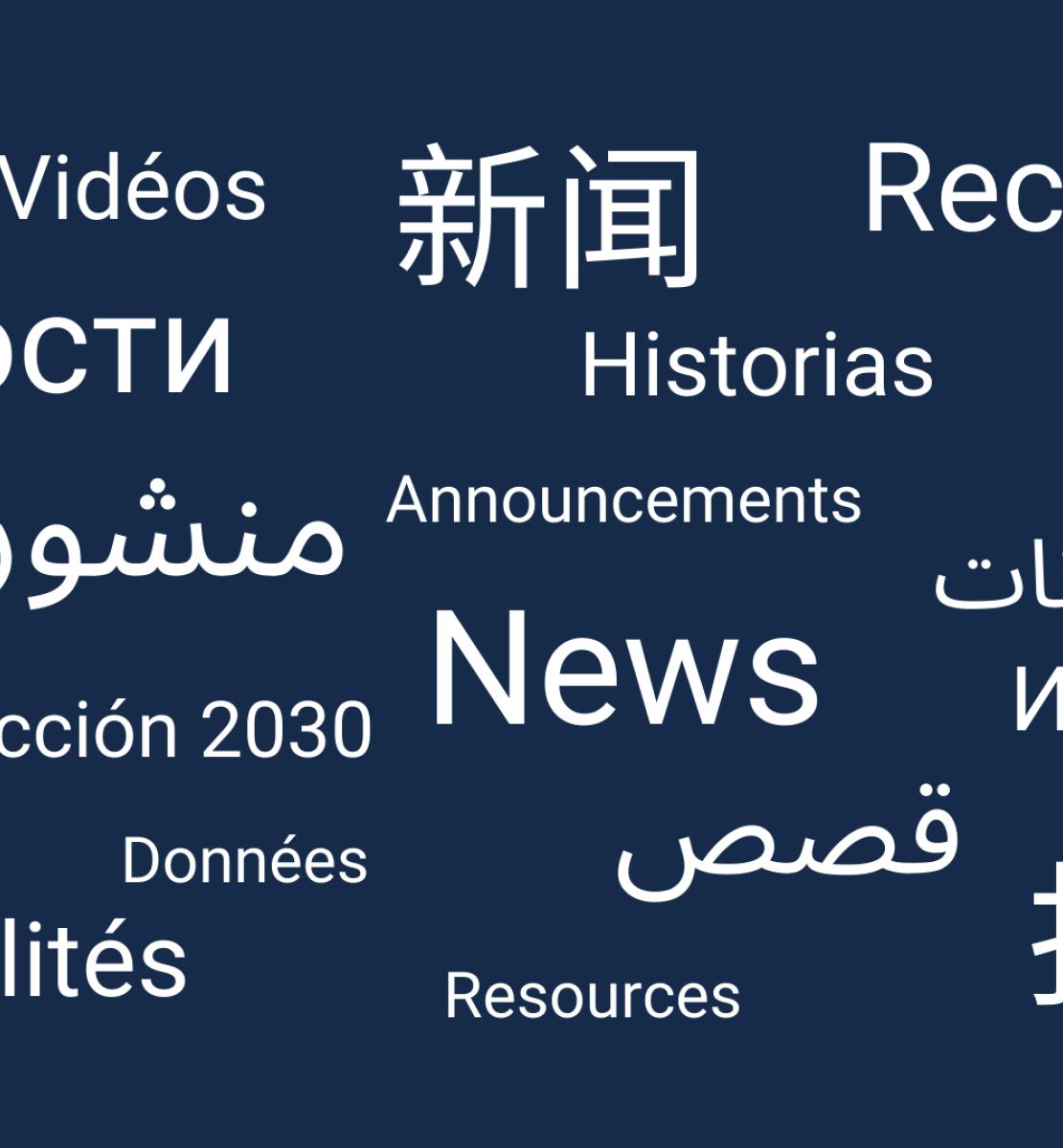 Divers mots en anglais, arabe, chinois, français, espagnol et russe sont inscrits en lettres blanches sur un fond bleu foncé.