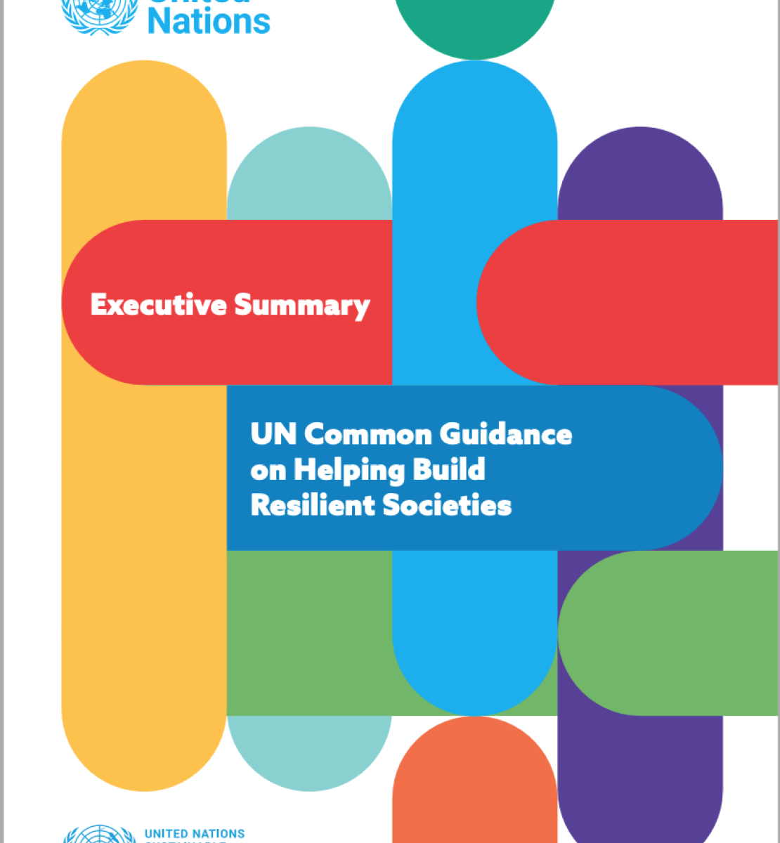 Cover has a white background with the SDG colours presented as elongated and curved oval shapes stretching across the entire cover, with the title positioned centered in front of one of the shapes.