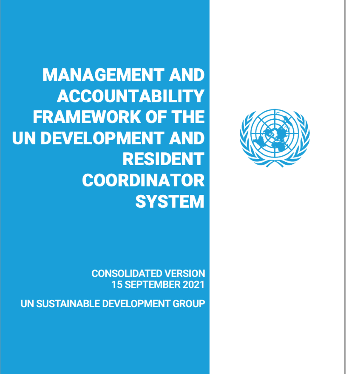 A light blue and white cover with the United Nations Logo on the right side.