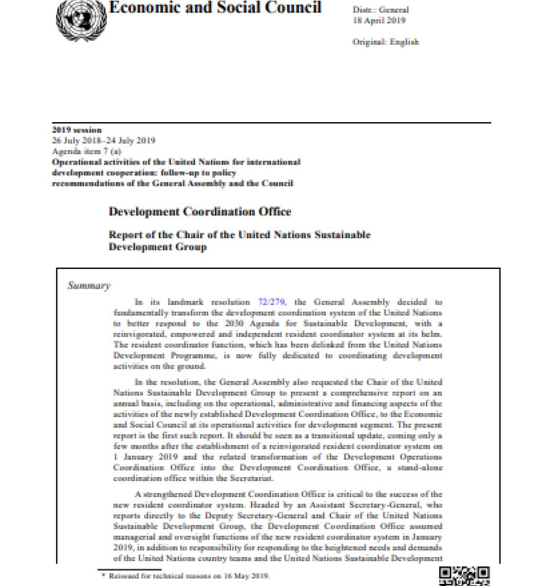 Rapport du Président du Groupe des Nations Unies pour le développement durable sur le Bureau de la coordination des activités de développement