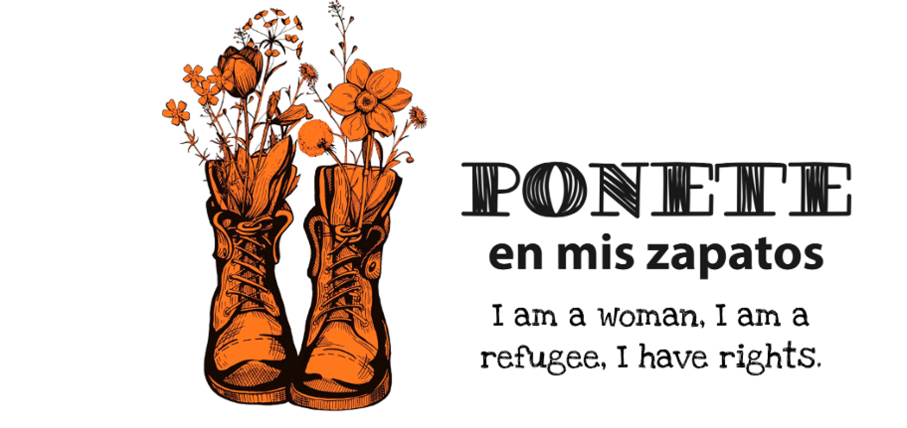 The Ponete en Mis Zapatos logo shoes a pair of orange boots with flowers.