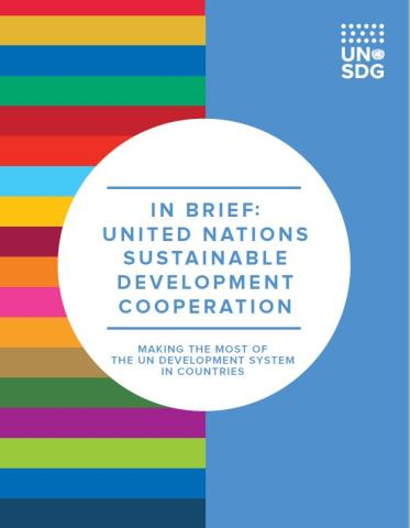 Cover shows colourful horizontal bars on the left of the page and a solid blue with the UNSDG logo on the right. The title is enclosed in a white solid circle in the middle of the page.