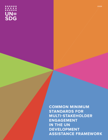 Cover of publication shows colourful diagonal shapes with the UNSDG logo at the top left and title on the bottom right.