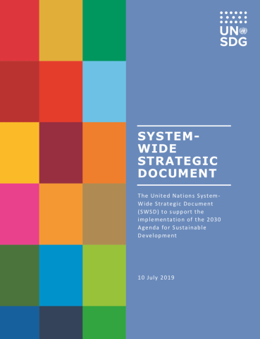 "Cover shows ""System-wide Strategic Document"" title, description and date against a solid background with colour blocks to the right."