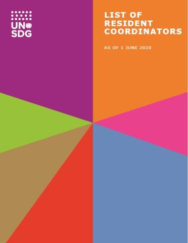"Cover shows the title ""List of Resident Coordinators: as of 1 June 2020"" against colourful diagonal shapes."
