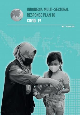 Cover of publication shows a woman showing a pamphlet to a girl with the publication tile: Cover of Indonesia Multi-Sectional Response Plan to COVID-19