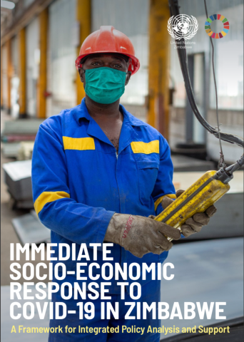 "Cover shows the title, ""Immediate Socio-Economic Response to COVID-19 in Zimbabwe,"" over an image of a machine operator wearing a protective face mask as he works."