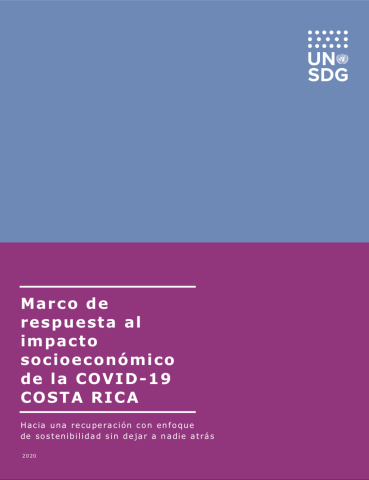 "Cover shows the title "" Response Framework for Socio-Economic Impact to Covid-19 in Costa Rica"" in Spanish against a solid purple and blue background."