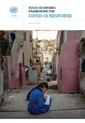 "Cover shows the the title, ""Socio-Economic Framework for COVID-19 Response for Jordan"" with a image of a girl with a blue dress studying outside"